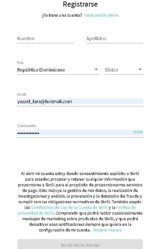 Skrill Formulario de registro