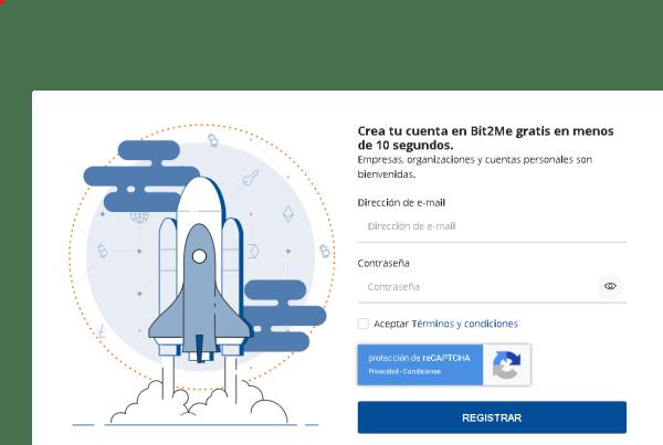 Bit2Me Formulario de registro