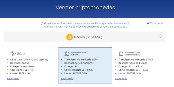 Bit2Me Vender criptomonedas