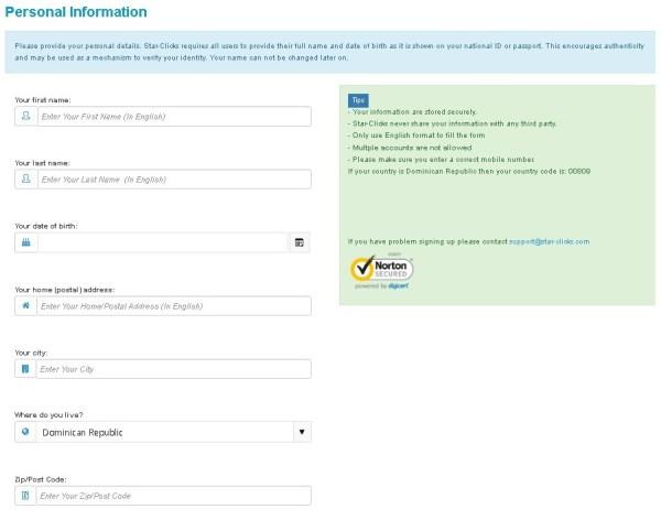 Star-Clicks Formulario de registro
