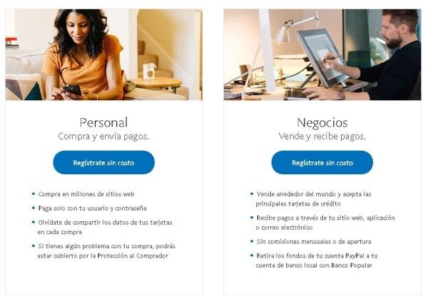 PayPal Formulario de registro