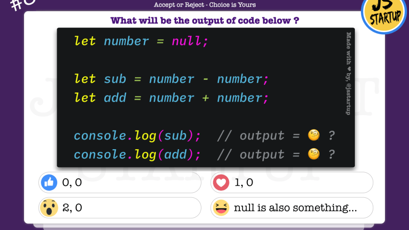 JavaScript Quiz – What happens when add or sub null value