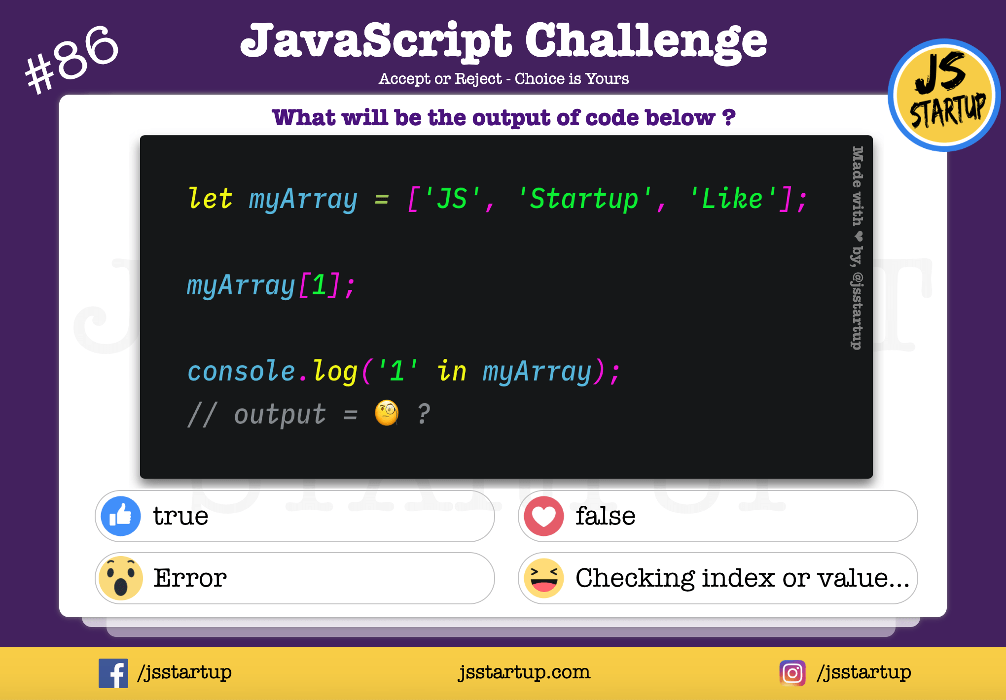 JavaScript Quiz – can in operator check value or index in an array