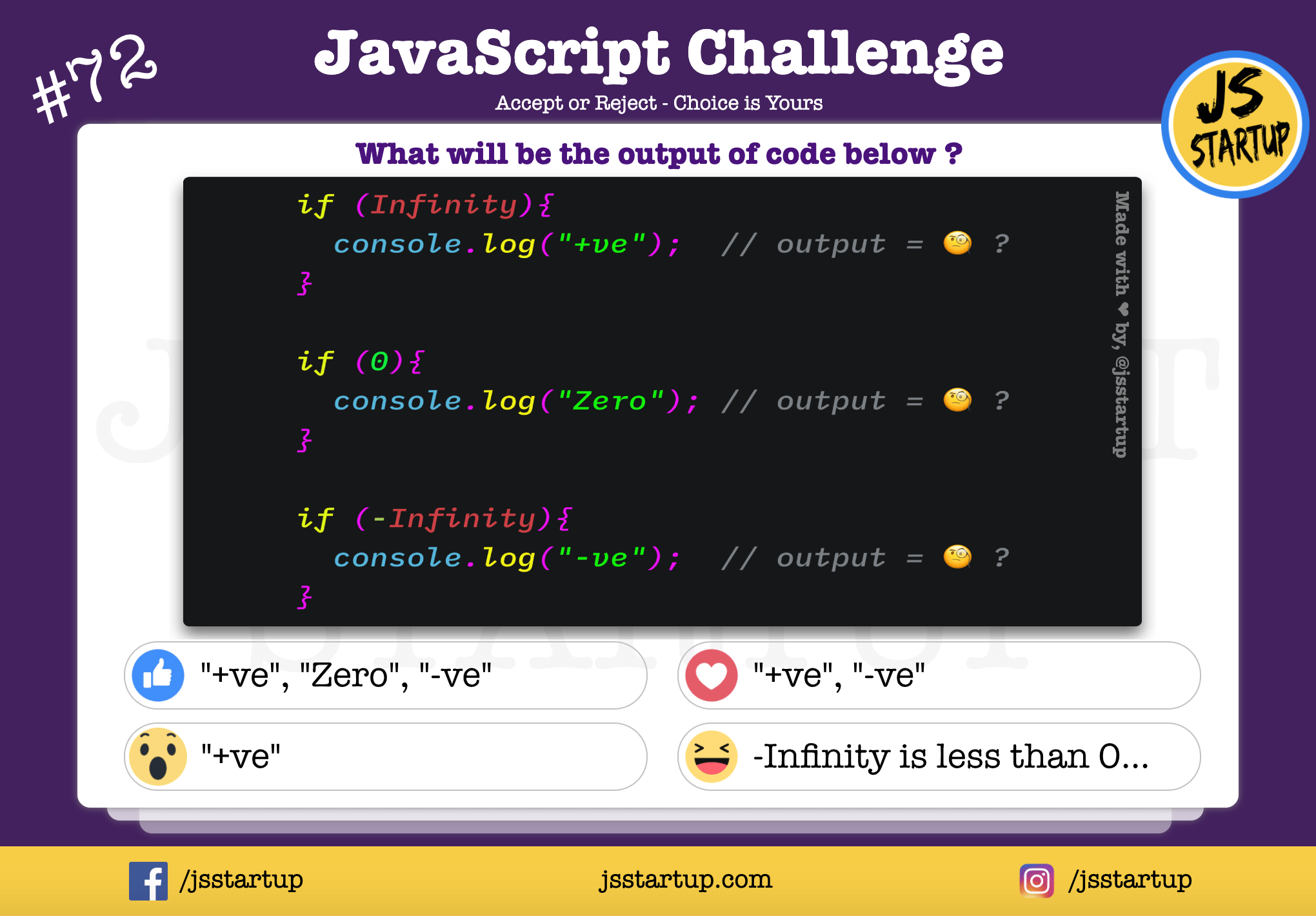 JavaScript Quiz – What actually negative infinity value returns