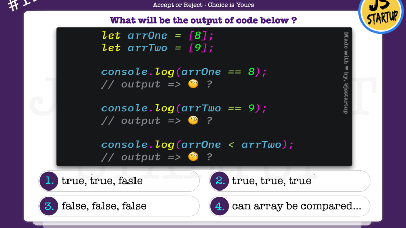 JavaScript Quiz – array single value comparison can be possible