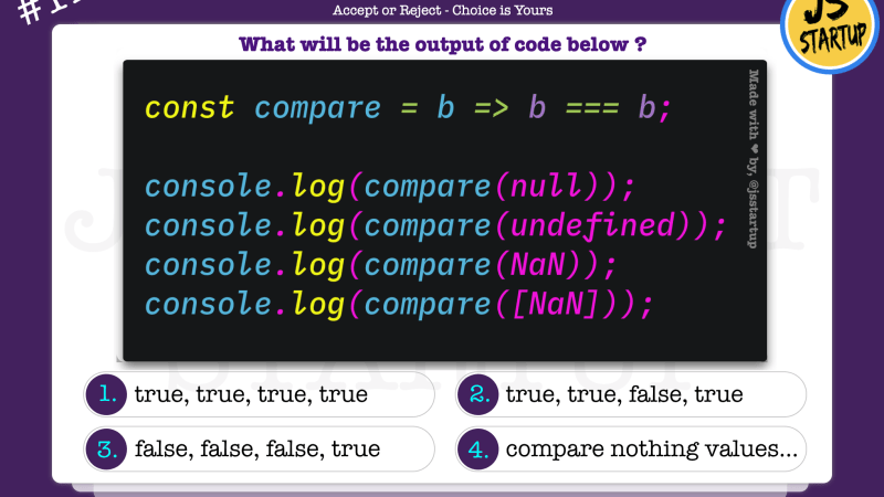 JavaScript Quiz – compare the self value with data type