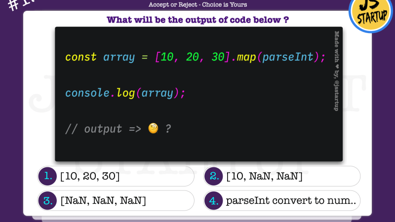 JavaScript Quiz – array map converts an element value with parseInt