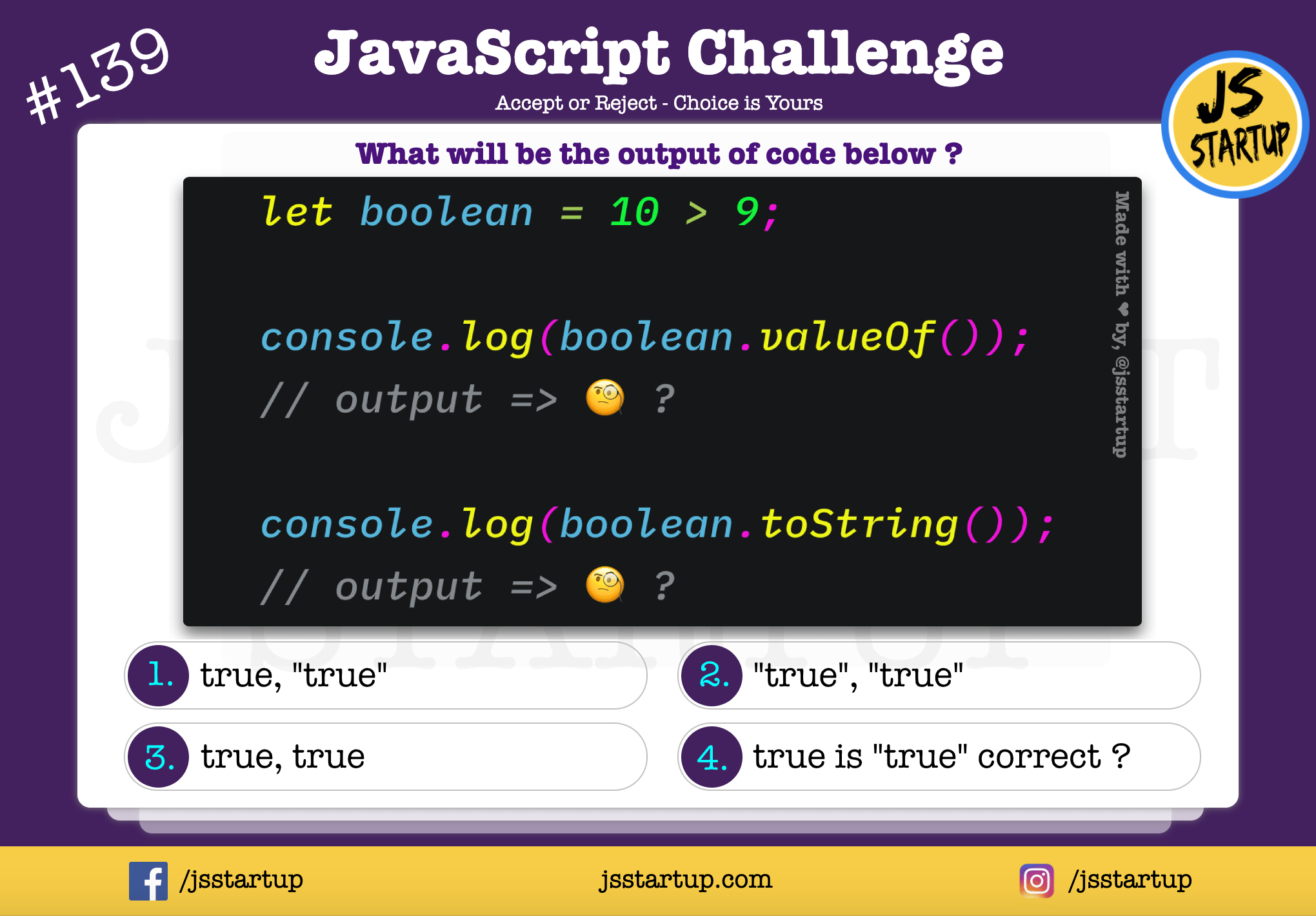 JavaScript Quiz – boolean return value true with string or not
