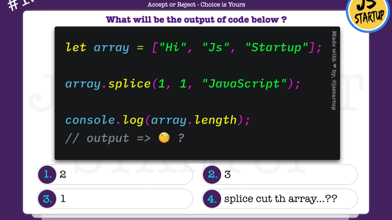 JavaScript Quiz – does the splice method replace array element