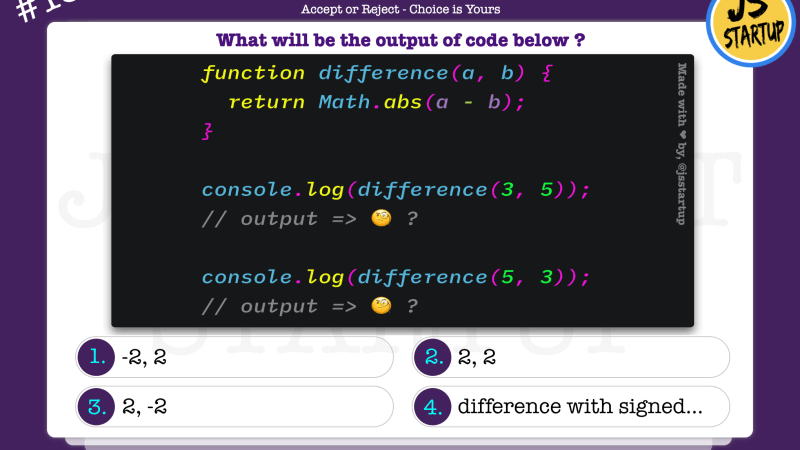 JavaScript Quiz – find numbers difference with math abs