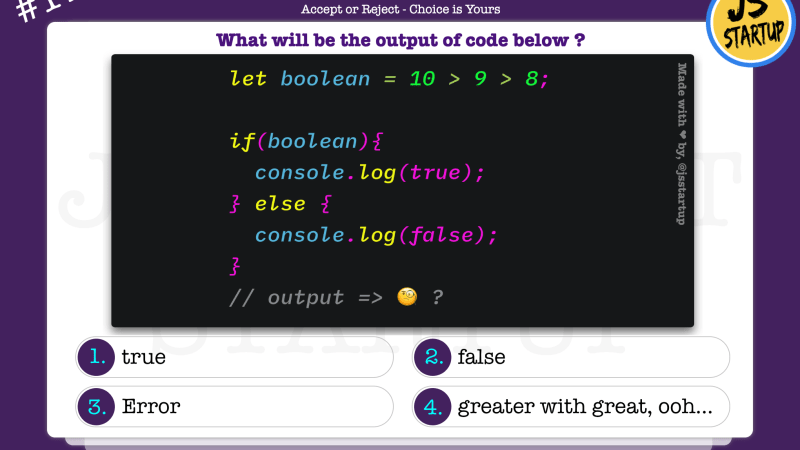 JavaScript Quiz – what does triple value compare 10 > 9 > 8 return