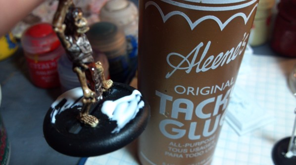 Some Tacky Glue on the base to start. Click to Enlarge.