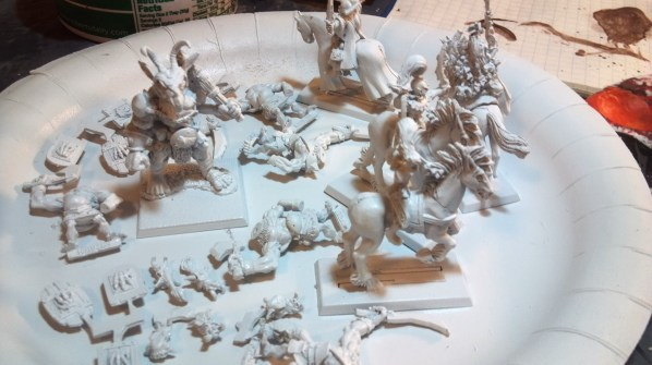 Orcs, mounted elven archers and mages after priming. Click to Enlarge.