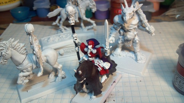Mounted Mage (or cleric) cleric miniature WIP. Click to Enlarge.