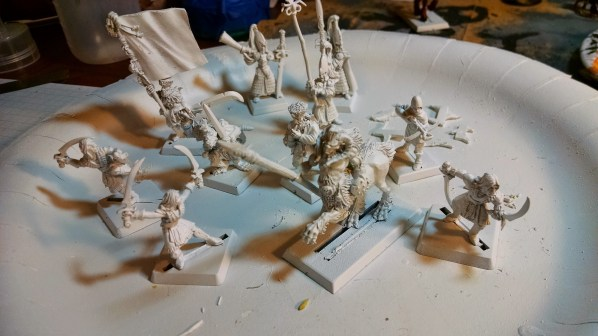 New batch of old miniatures, glued, primed and ready. Click to Enlarge.