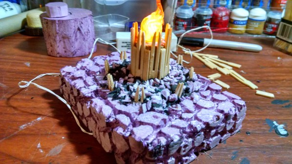 Rubble added to Burning Column Terrain Piece. Click to Enlarge.