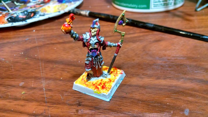 After Painting the Miniature Bases, Fire and Earth. Click to Enlarge.