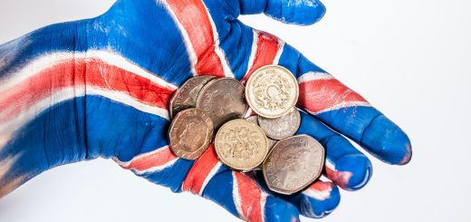 Grabbing UK coins in a hand