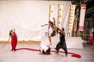 Mahabharata rehearsal photo 3 Suryo Purnomo, Danang Pamungkas, Ronnarong Khampha, Azusa Fukushima