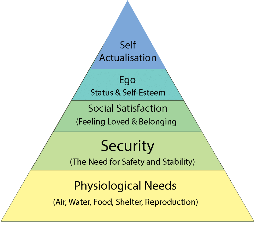 The Maslow Pyramide visualizes 5 main catergories of human needs