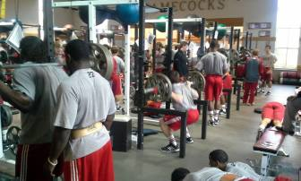 JSU Football team working out in weight room