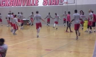 Gamecocks doing drills in the gym