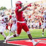 Josh Pearson (11) scores a touchdown during a recent game of college football. Pearson broke the JSU touchdown record last Saturday in a game against Austin Peay. He now has a career total of 24 touchdowns, which is one more than the previous record holder. (Courtesy of JSU)