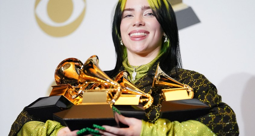Billie Eilish, pictured, won four awards at the 62nd Grammy Awards held on January 26. (Rachel Luna/FilmMagic)