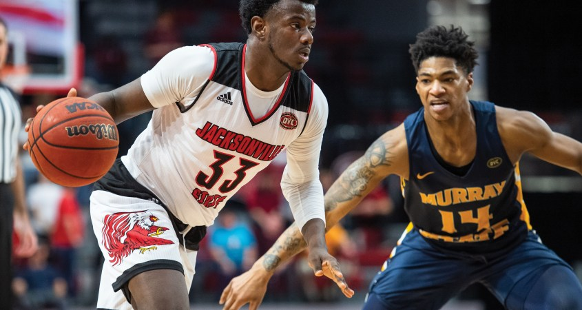 De'Torrion Ware on January 9, 2020 in a matchup against Murray State that resulted in a final score of 72-68 with the Gamecocks falling shore of a win. (Courtesy of JSU)