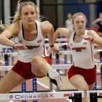 Ashton Coats and Tylynn Register jumps over hurdles in the 60-meter race at the Samford Invite in Birmingham, Alabama. (Courtesy of JSU)