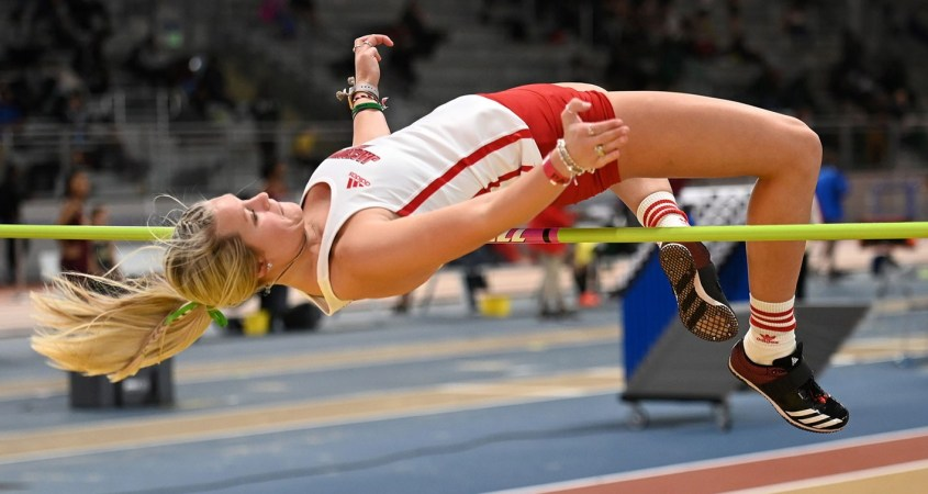 Senior Madison Rollins competes at the South Carolina Invitational on February 9, 2020 where Rollins placed sixth in the high jump competition with a jump of 1.55 meters. (Courtesy of JSU)
