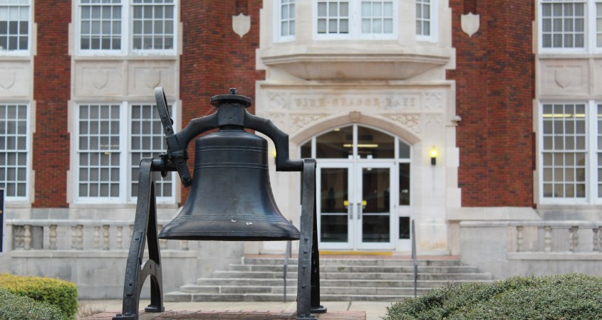 The bell located in front of Bibb Graves Hall. (Scott Young/The Chanticleer)
