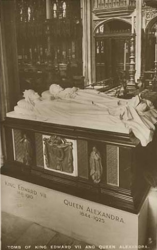 Caesar was included in the sculpture of the King and Queen's tomb lying by the King's feet at St Georges Chapel.