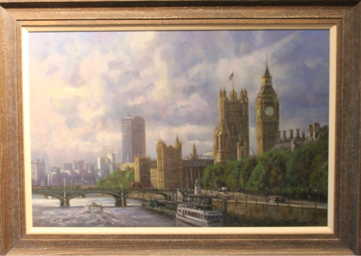 SOLD: Westminster from Tower Bridge – John Trickett