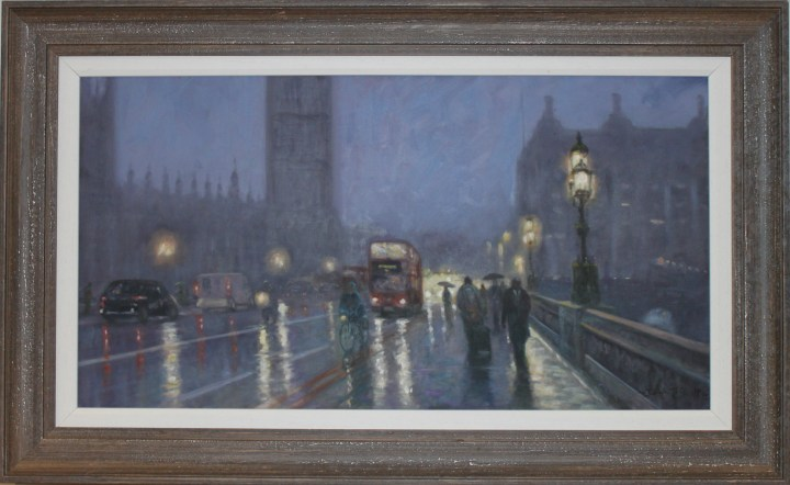 SOLD: Rainy Evening on Westminster Bridge – John Trickett
