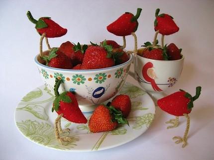 strawberries with bird legs