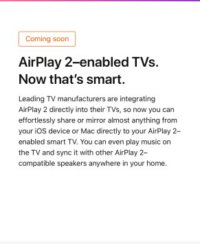 Airplay 2 coming to smart TVs