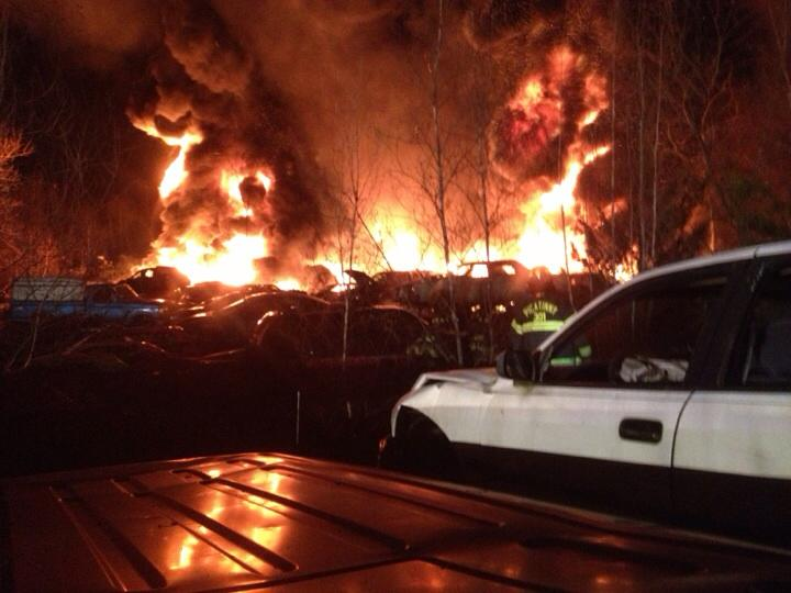 Image result for Fire at Sars Auto Salvage Yard