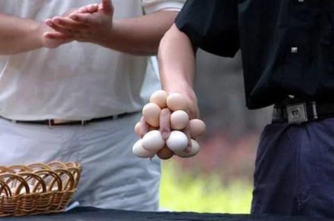 chinois tenant des œufs dans sa main