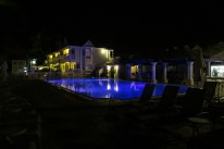 Our pool bar at night!