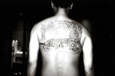 "One of Brad's first black and grey ""sketch"" style tattoos. He points to this tattoo as the moment when he knew what style was his."