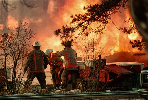 Editorial - Award winning photo of Port Colborne barn fire.