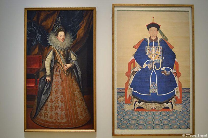 Portret van Margaretha van Savoye, hertogin van Mantau en Portret van een Chinese hoogwaardigheidsbekleder tijdens de tentoonstelling De schatkamer! Meesterwerken uit de Hermitage in de Hermitage in Amsterdam