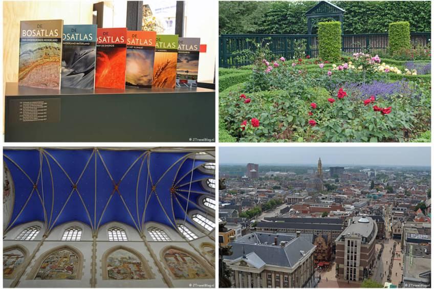 Groningen met het GRID Grafisch Museum (tentoonstelling Bosatlassen), Prinsentuin, Martinikerk en uitzicht vanaf de Martinitoren.