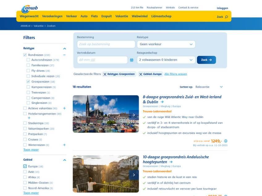 De website van ANWB Reizen voor het boeken van groepsrondreizen binnen Europa