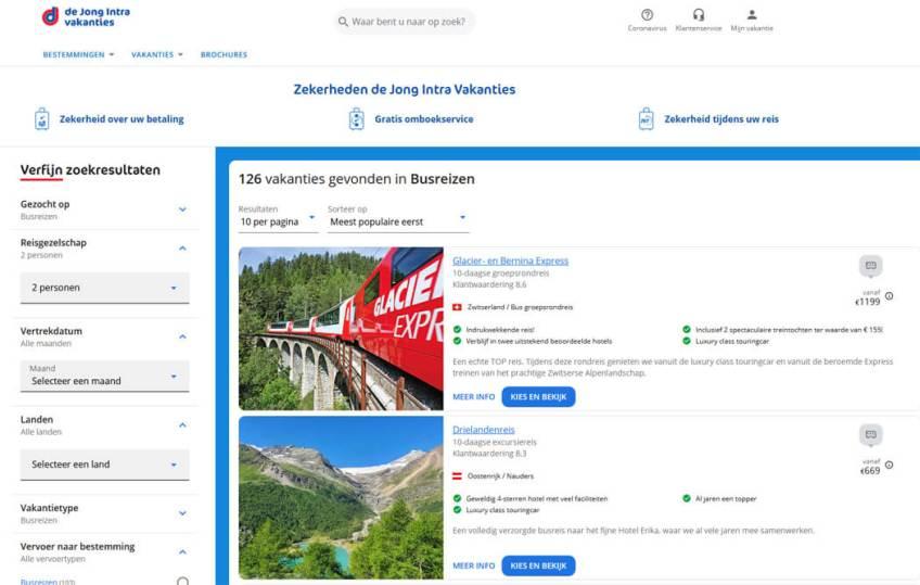 De website van De Jong Intra Vakanties voor het boeken van groepsrondreizen binnen Europa