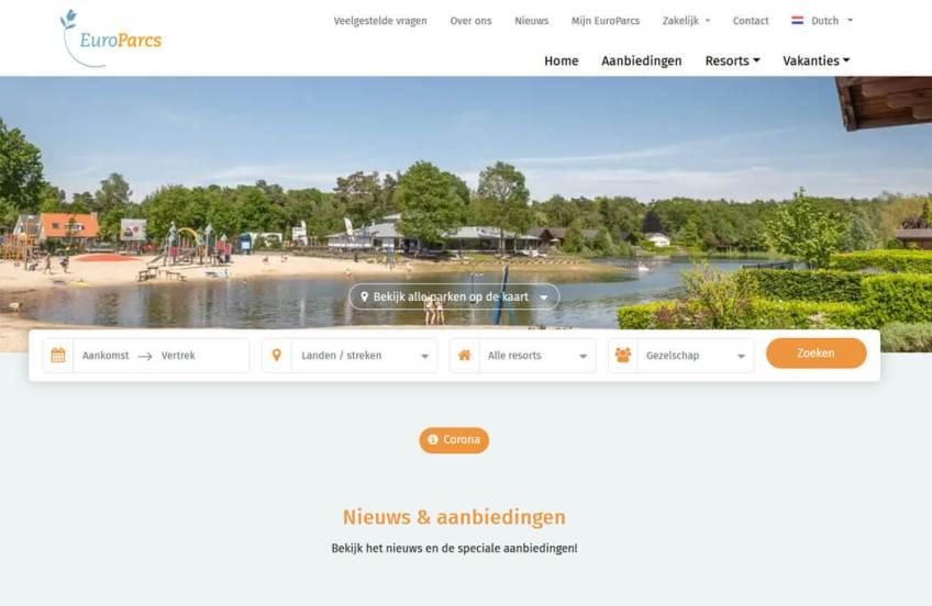De website van Europarcs om een vakantiehuis te huren