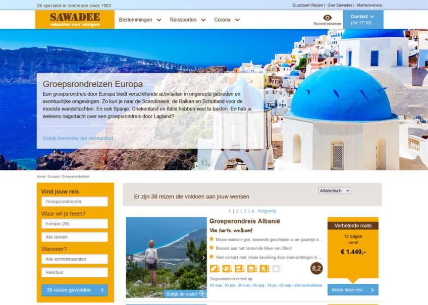 De website van Sawadee voor het boeken van groepsrondreizen binnen Europa