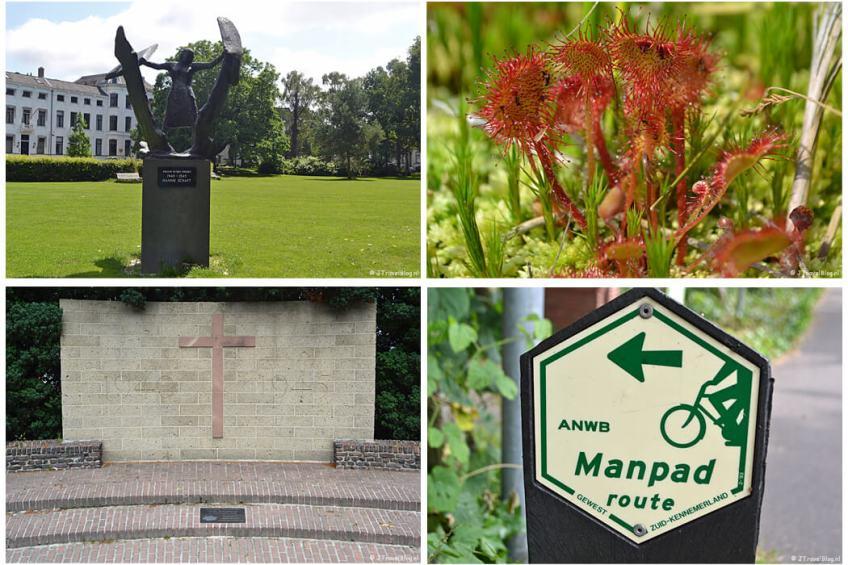 Juli 2021: Beeld van Hannie Schaft in het Kenaupark tijdens de Vrijheidswandeling in Haarlem, zonnedauw in de Amsterdamse Waterleidingduinen, het Oorlogsmonument in Baarn tijdens de 7e etappe van het Westerborkpad en het markeringsteken van de Manpadroute
