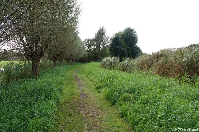 Een onverhard pad bij het Zijdelmeer tijdens mijn wandeling van het Fortenpad van Wandelnetwerk Amstelland/Noord-Holland